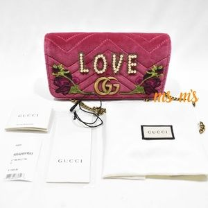 NWT Gucci Gg Marmont pink LOVE Velvet Crossbody